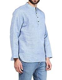VIVIDS INDIA MEN'S Cotton Linen Short Kurta (Blue , G-142 - $P)