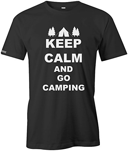 KEEP CALM AND GO CAMPING - HERREN - T-SHIRT Schwarz