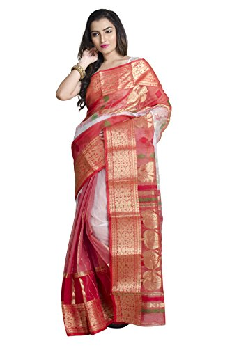 Upama White-Red Handloom Resham Jamdani Saree