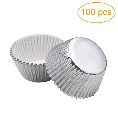 ROSENICE Muffin Förmchen verdickte Aluminium Folie Kuchen Muffin Form für Baken 100pcs (Silber) (Cupcake Wrapper Silber)
