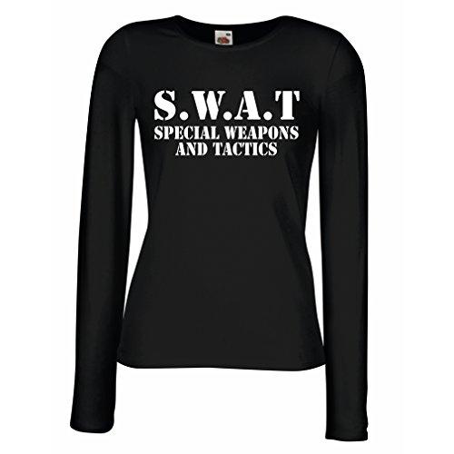 Weibliche Langen Ärmeln T-Shirt SWAT - Spezialwaffen- und Taktik Team der Vereinigten Staaten - Militärausrüstung (XX-Large Schwarz Weiß)