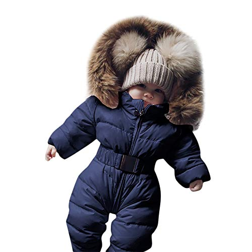 Rosennie Winter Säuglingsbaby Mädchen Spielanzug Jacken mit Kapuze Kleinkind Kinder Mantel Overall Warme Ausstattung Jacket Hooded Jumpsuit Thick Coat Outfit Baby Romper Winterjacke(Blau,60)