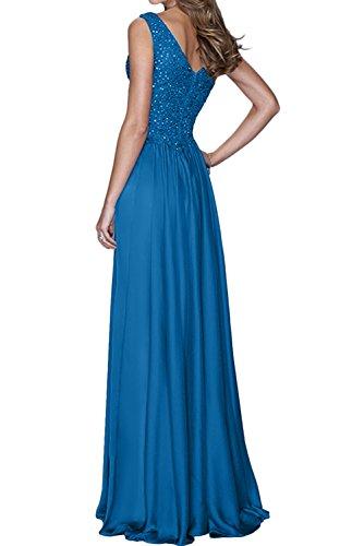 Sunvary Elegant V-Neck Chiffon A-Linie Spitze Paillette Abendkleider Lang Ballkleider Promkleider Royalblau