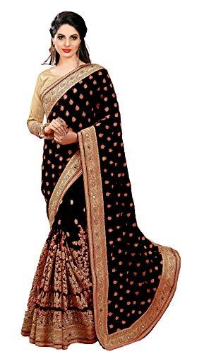 Nivah Fashion Damen Seide & Netz bestickt Saree mit Bluse Stück K579 Gr. One size, Schwarz Seide Saree
