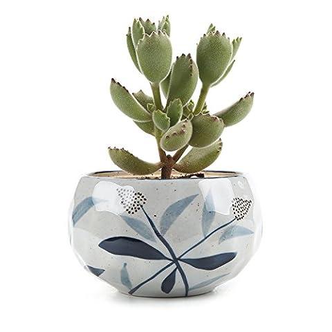 T4U Japonais style Argile Série Roseau Céramique Pot Plante Récipient Pépinière Pots Succulents Cactus Plante pots Blanc
