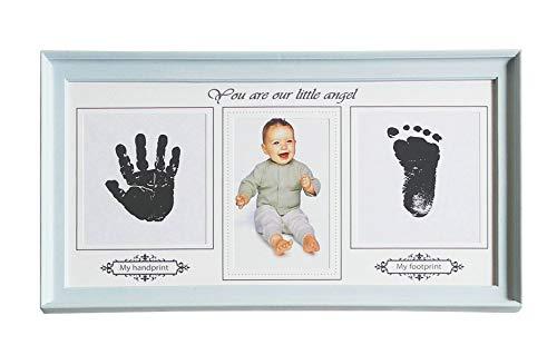 Guteinte kit portafoto con impronte per bambini neonato, impronte delle manine o dei piedini, cornice portafoto da parete e da tavolo, una battesimo regalo perfetto per baby (azzurro, 38.5 x 21.8cm)