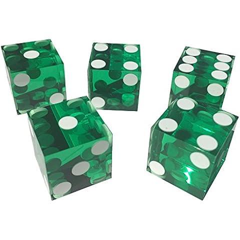 5x Lámina Sealed Verde Nuevo perfecto 19mm Precisión Casino Dados/Craps Impresionante