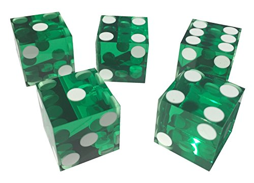 41D44nzD5YL - NO.1 BETTING 5 x FOIL SEALED GREEN NEW PERFECT 19MM PRECISION CASINO DICE / CRAPS STUNNING Reviews