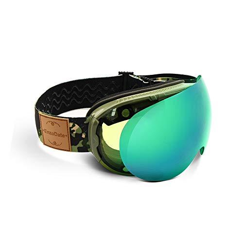 EnzoDate Skibrille 2 in 1 mit Magnetic Dual-Use-Objektiv Nachtskilauf Anti-Fog UV400 Snowboard Sonnenbrille (Nacht-vision-brille Für Erwachsene)