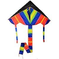 FZSWD Rainbow Colorful Triangle Flying Kite Juego al Aire Libre Juguete Poliéster Fibra de Vidrio con