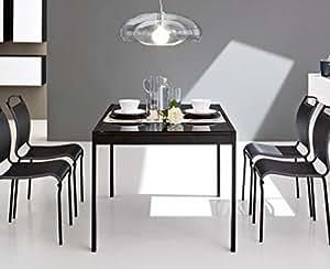 CALLIGARIS Table repas extensible KEY 130x89 plateau verre noir
