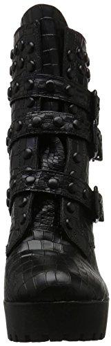 Schutz Damen Trendy Winter Navy Biker Boots Schwarz (Black)