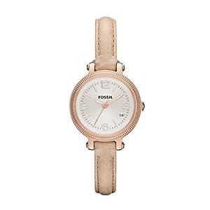 Fossil ES3139 - Reloj de cuarzo para mujer, correa de cuero color marrón de Fossil