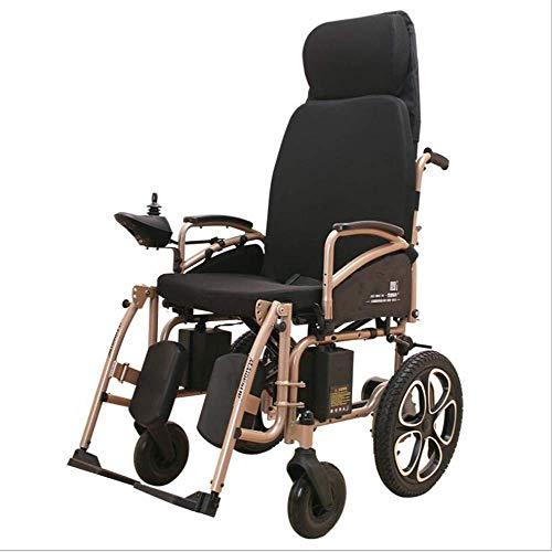 SISHUINIANHUA Elektrischer Rollstuhl behinderte automatische doppelte Rollstuhl-faltende Lampe mit dem Badezimmer-vierrädrigen Alten Roller-hohen hinteren vollen Lügen