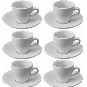 Viva-Haushaltswaren - 6 dickwandige Espressotassen aus weißem Porzellan 2. Wahl