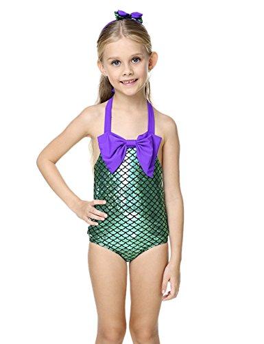Le SSara LittleGirls2pezziSwimmableMermaidPrincessBikiniSwimBathingSuit (4-5 anni)