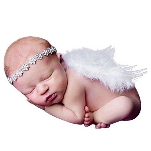 DDOQ Engelsflügel Baby Engel Flügel Fee Flügel Kostüm Foto Requisite Amor Anzüge (weiß) (Baby Engel Kostüm Für)