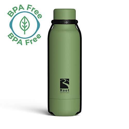 Root-FTC Edelstahl Trinkflasche/Wasserflasche mit Deckel in 10 n - 530ml - Thermo Isolierflasche für jedes Getränk, Heiß & Kalt (~24 h) - Trainingsflasche Grün