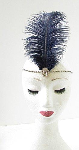 Bleu marine/bleu/argenté en plumes d'autruche Bandeau Serre-tête années 1920 Flapper Vintage 350 * * * * * * * * exclusivement vendu par – Beauté * * * * * * * *