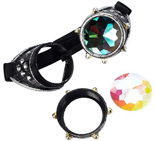 KOLCY Steampunk Brille Cool Schutzbrillen Kaleidoskop Partybrille Schraubemutter Silber Rund Schmuck Sonnenbrille Accessoire Retro Einstellbar
