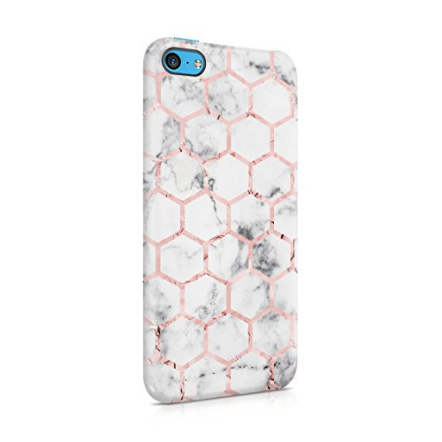Silver Marble & Peach Pink Hexagons Pattern Hard Thin Plastic Phone Case Cover For iPhone 5C