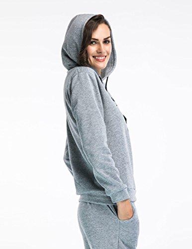Sitengle Donna Felpa Tuta Labbro Stampa Felpe Manica Lunga Scollo Rotondo Camicetta 2PCS Pullover Sweatshirt + Relaxed Pantaloni Sportswear Grigio