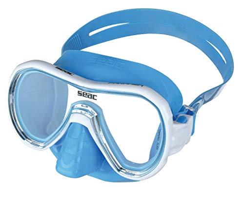 SEAC Panarea Color, Maschera da Snorkeling Colorata monolente Unisex Adulto, Azzurro, Standard