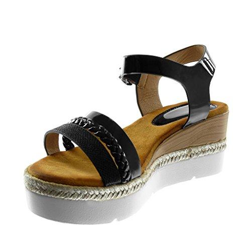Angkorly Chaussure Mode Sandale Mule Lanière Cheville Plateforme Semelle Basket Femme Multi-Bride Verni Tréssé Talon Compensé Plateforme 6.5 cm Noir