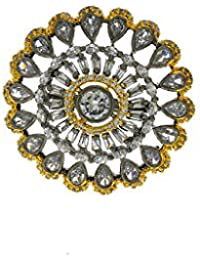 Anuradha Art Silver Oxidized Flower Styled Studded American Diamonds Stone Finger Ring For Women/Girls