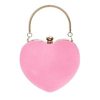 AiSi Women's Suede Heart Shape Clutch Handbag Evening Party Bag Prom Purse Messenger Shoulder Handbag, Pink