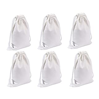 Augbunny 100% Cotton Canvas Favor Bag Pouch With Drawstring 6-pack (Small, White)