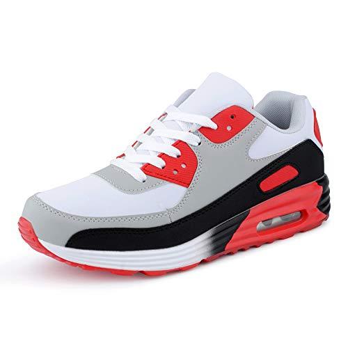 Fusskleidung Herren Damen Sportschuhe Dämpfung Neon Sneaker Laufschuhe Runners Gym Unisex Schwarz Grau Rot EU 37