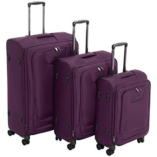 AmazonBasics, set di 3 valigie Premium, espandibili, morbide, con rotelle multidirezionali e chiusura con combinazione TSA, (53 cm, 64 cm, 74 cm), Viola