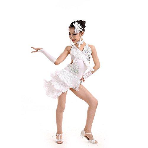 YI WORLD Frau Lateinischer Tanz Kleidung Mädchen genau Samba Quaste Gymnastik Elasthan Rosa Kleid , white , 140cm