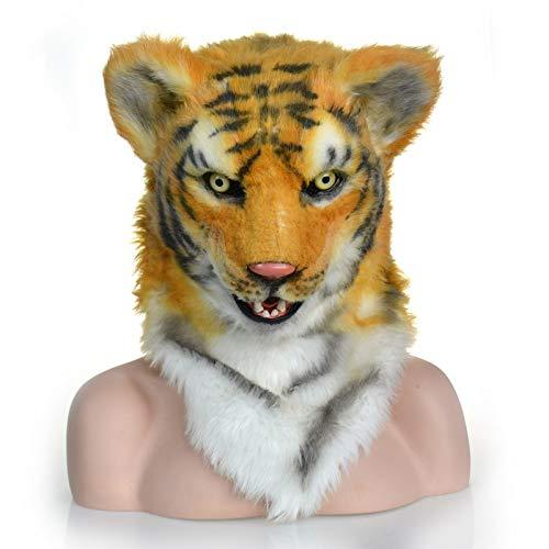 OYWNF Neuheit pelzigen Stoff Tiger Kopf Maske Halloween Theater Party Kostüm Tier Masken (Color : Yellow) (Für Erwachsene Weiße Tiger Kostüm)