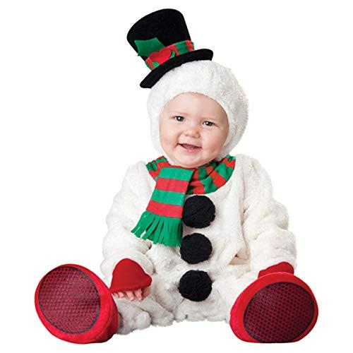 Dreamworldeu Baby Weihnachten Kostüm Set Schneemann Overall Outfit für Baby Kleinkind Jungen Mädchen