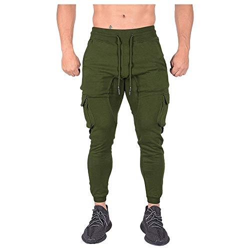 Aiserkly Herren Bodybuilding Hose Bandage Beiläufige Jogginghose Trainingshose Freizeithose Chino Hose Arbeitshose Slim Fit Armeegrün XL