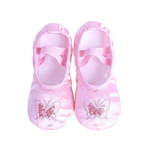 Zhuotop Mädchen Satin bestickt Ballettschuhe Pailletten Yoga Tanzschuhe Split Sole Flats Tanzschuhe Gr. 29, rosa Schmetterling (Pink Butterfly)