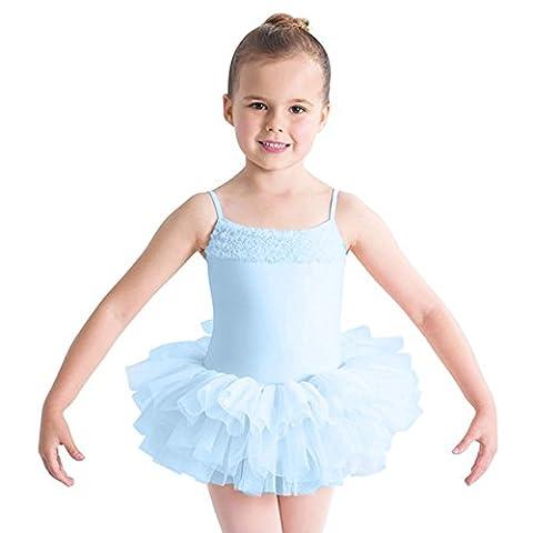 (CL7120) Bloch - Desdemona -Kinder Ballett Trikot Mädchen Rock Tutu Hell Blau Alter 8-10 Jahre