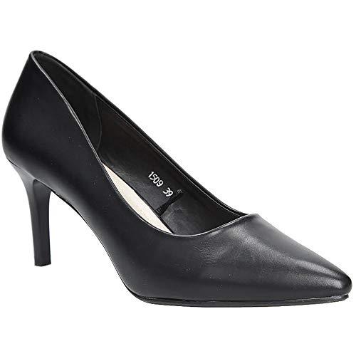 Sergio Leone Damen High Heels Pumps mit Absatz Stiletto | Party Schuhe | Schwarz | EUR 39
