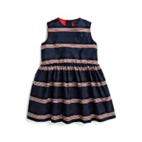 Tommy Hilfiger Girls' Adaptive Sleeveless Dress with Magnetic Buttons and Velcro, Evening Blue, 5