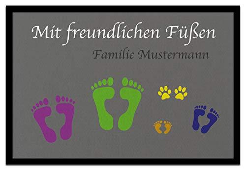 Bedruckte Fußmatte - Mit freundlichen Füssen - Personalisierbar - in 3 Größen, Größe der Fußmatte:40 x 60 cm