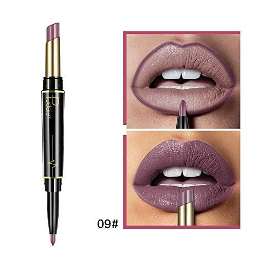 KHKJ Pudaier Matte Lipstick Wateproof Double Ended Long Lasting Lipsticks Brand Lip Makeup Cosmetics Nude Dark Red Lips Liner Pencil