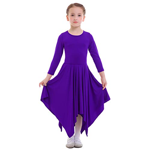 OBEEII Vestito Bambine Liturgico Manica Lunga Asimmetrico Abito da Balletto Ginnastica Classico Danza Combinazione Costume 3-4 Anni Viola