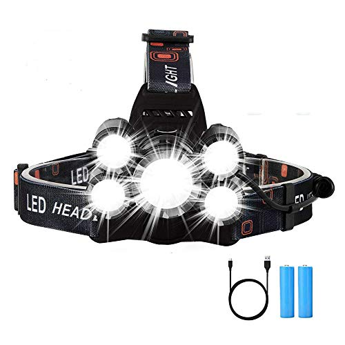 faro USB recargable con 8000 l/úmenes s/úper brillantes linterna impermeable IPX5 para ni/ños adultos correr ciclismo, Antorcha de cabeza LED luz blanca y roja 6 modos de iluminaci/ón pasear perros