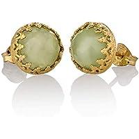 Gold Jade Earrings Light Green Stud 14k Gold Filled Jade Jewelry