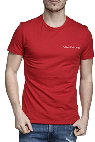 Calvin klein t- shirt jeans typoko rosso l rosso