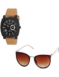 Magjons Fashion Black Analog Watch And Sunglassses Combo For Men And Women - B0735BC8XL