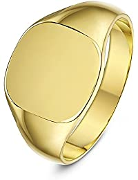 Theia 9 ct Yellow Gold, Cushion Shape, Light, Medium or Heavy Weight Signet Ring