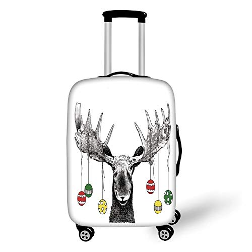 Travel Luggage Cover Suitcase Protector,Moose Decor,Christmas Moose with Xmas Ornaments Balls Hanging from Horns Funny Noel Sketch Art,Multi,for Travel,S